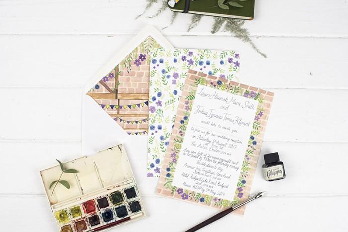 Illustrated wedding stationery – Laura and Josh