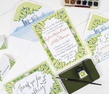 Illustrated wedding invitations – Lydia and Nick