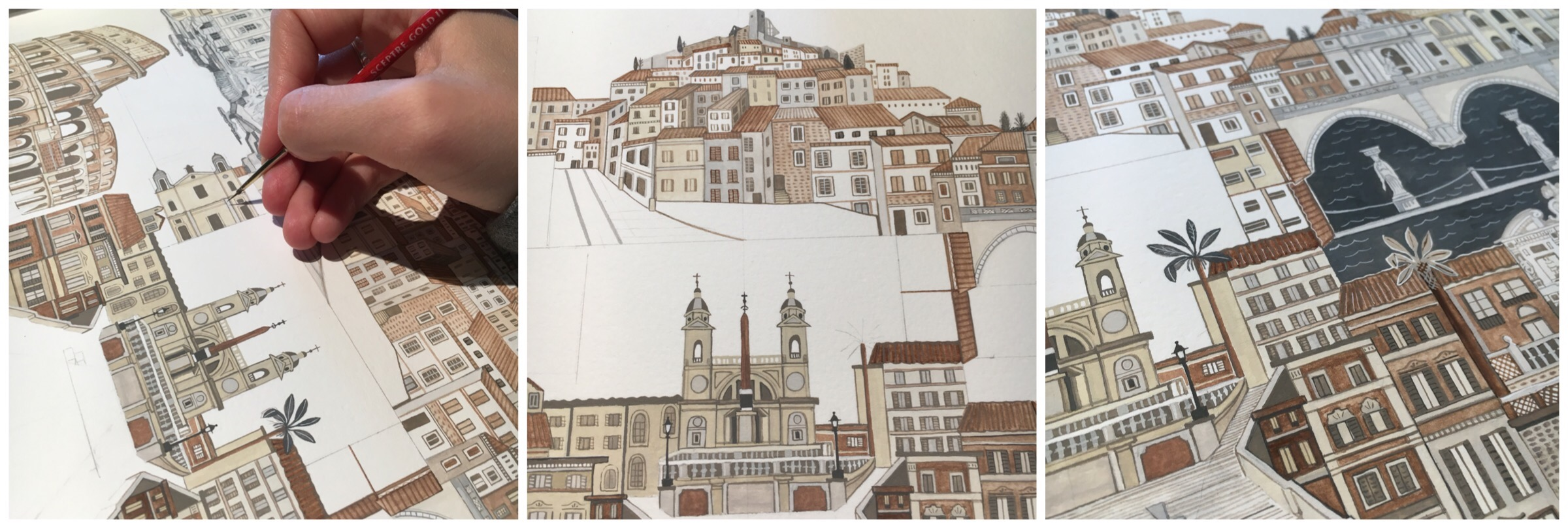 Italian Architecture painted by Illustrator Katie May